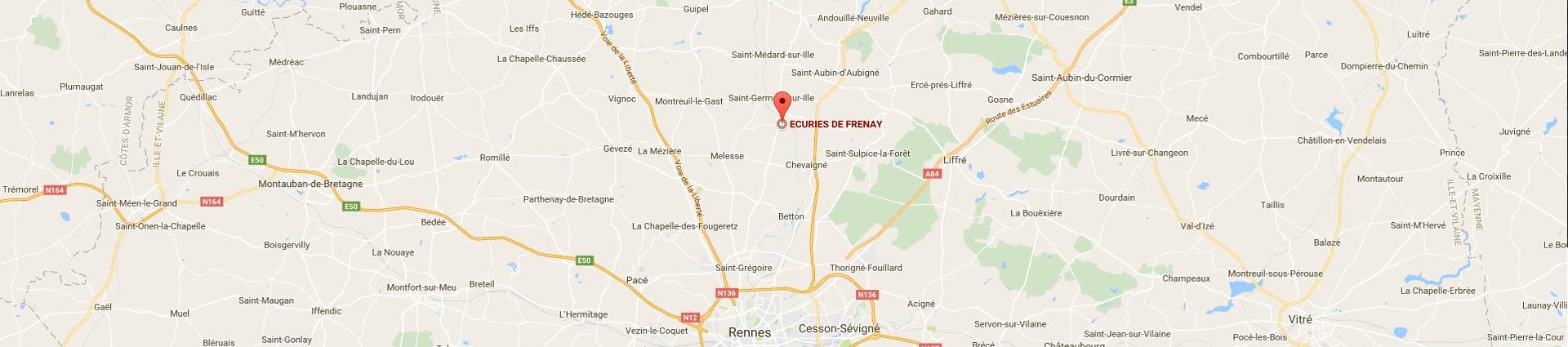Plan d'accès des écuries de frenay près de Rennes